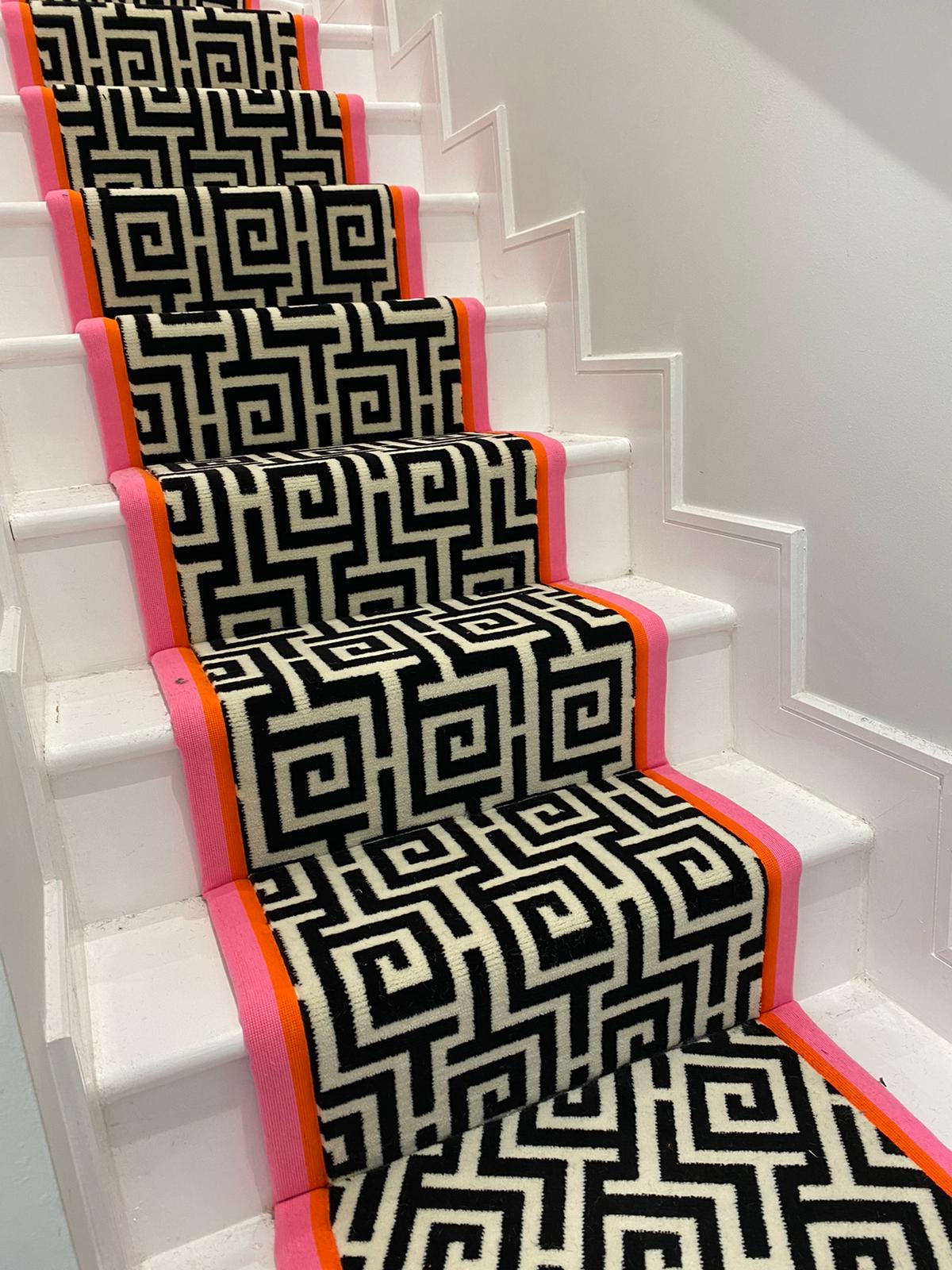 Traditional stair carpet with bound edges