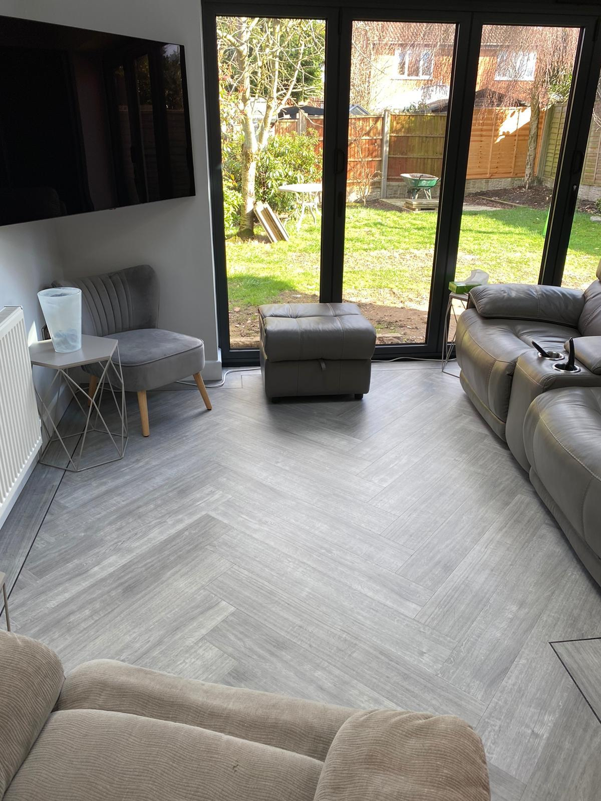 Karndean in large herringbone pattern to kitchen and family roomeh