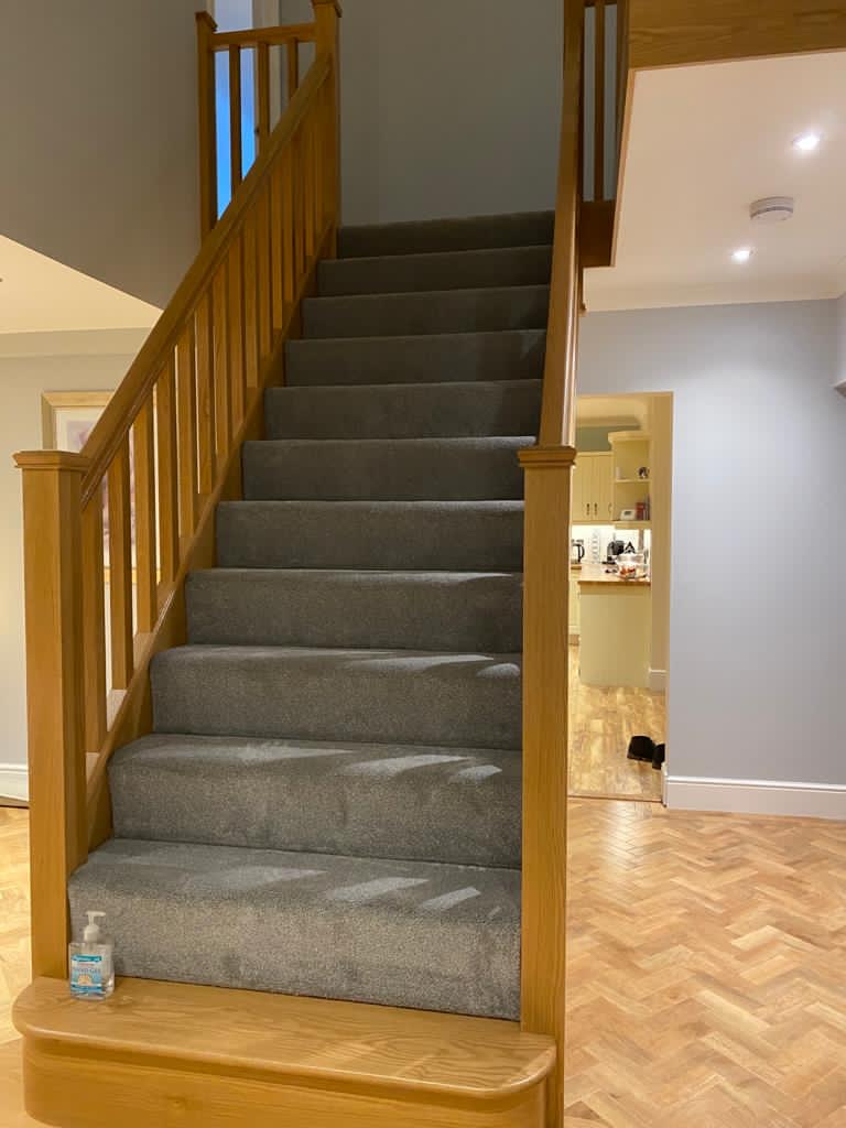 LVT to hall with carpet to stairs