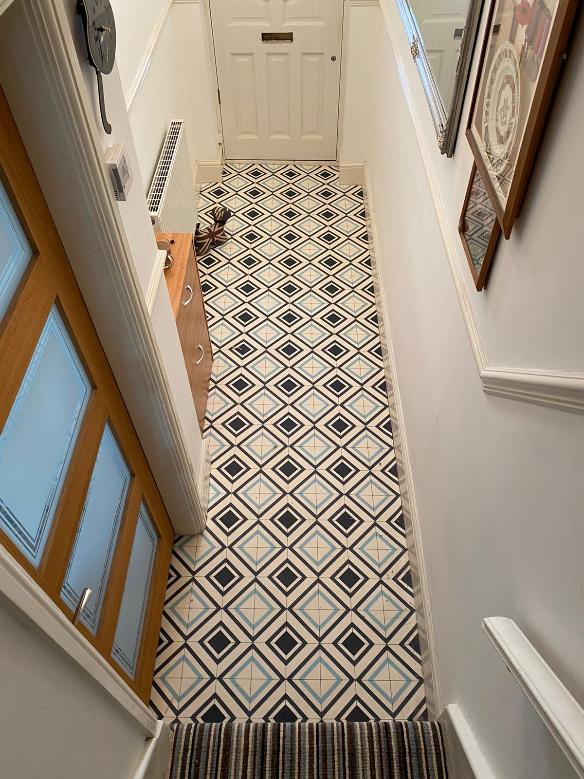 Cushion floor vinyl to hall and carpet to stairs