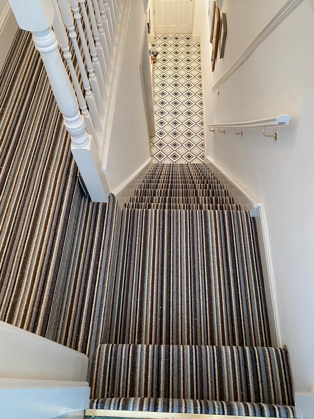 Carpet to stairs with cushion vinyl