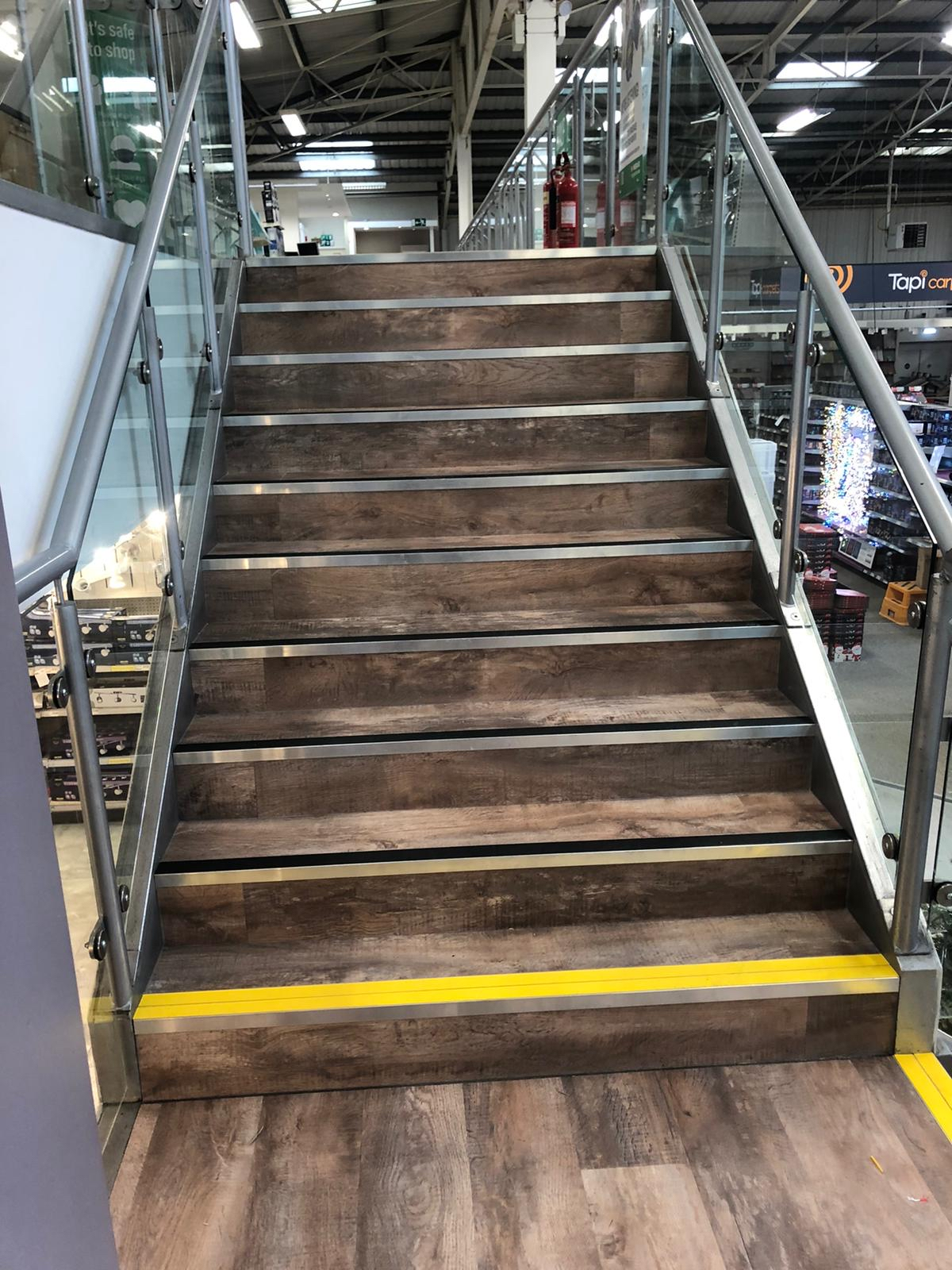 Homebase 30 Store project Moduleo LVT and nosings to stairs